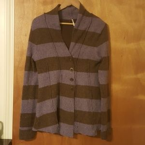 Free People Angora Blend Striped Button Up Cardi